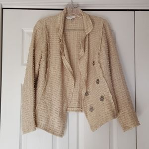 CAbi style #985 oatmeal chenille textured blazer